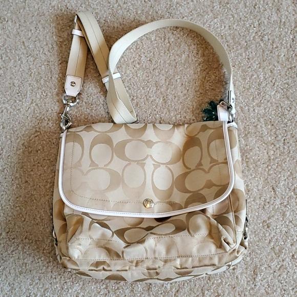 Coach messenger bag tan and cream canvas euc
